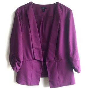 Torrid Purple Pink Crepe Ruched Sleeve Blazer 2 2X